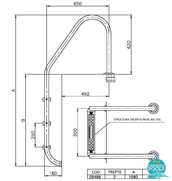 Scara piscina standard 3 trepte 05489