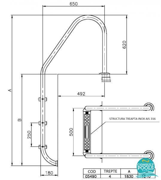 Scara piscina standard 4 trepte 05490