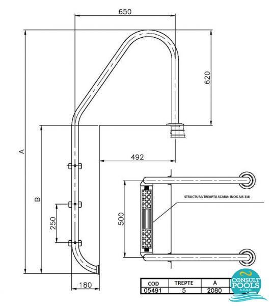 Scara piscina standard 5 trepte 05491