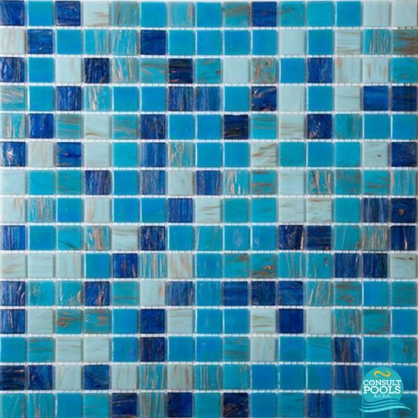 Mozaic piscina mix albastru deschis sidefat