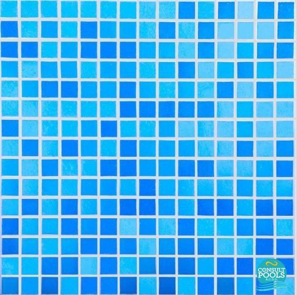 Mozaic piscina mixt albastru standard