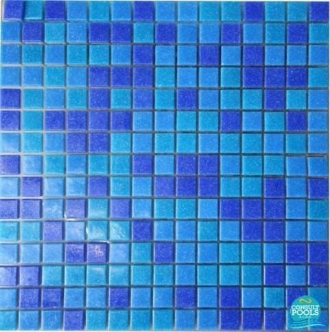 Mozaic piscina mixt albastru inchis 3 nuante PS03