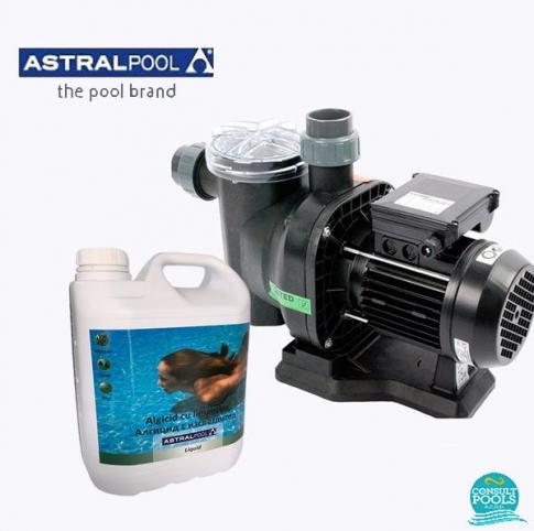 Set pompa piscina Sena 7 mc/h, plus antialge cu limpezire 5 l, Astral Pool