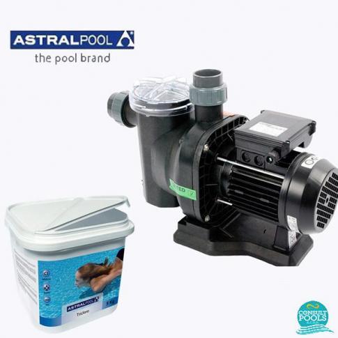 Set pompa piscina Sena 8.5 mc/h, plus clor lent granule 5 kg, Astral Pool
