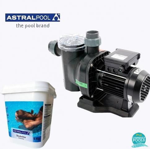 Set pompa piscina Sena 8.5 mc/h, plus clor soc 5 kg, Astral Pool