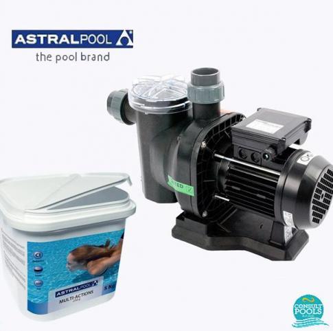Set pompa piscina Sena 7 mc/h, plus clor triplex multi actiune 250 gr 5 kg, Astral Pool