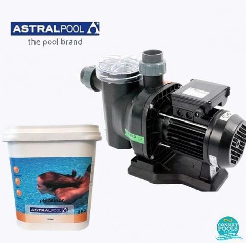 Set pompa piscina Sena 7 mc/h, plus ph minus granulat 8 kg, Astral Pool