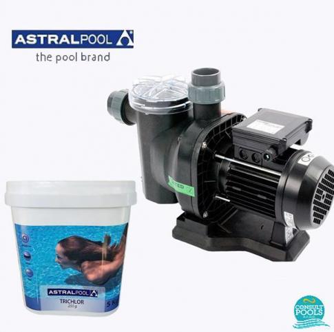 Set pompa piscina Sena 9 mc/h, plus clor lent tablete 250 gr 5 kg, Astral Pool