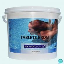 Brom tablete 20 gr, cu dizolvare lenta, brom activ 61%, clor activ 27 %, AstralPool 5kg