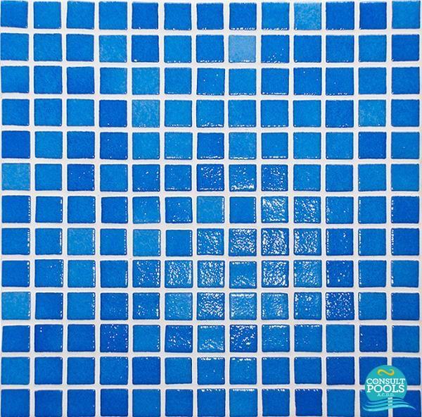 Mozaic piscina Astral Pool mixt albastru standard 2.5 * 2.5 cm