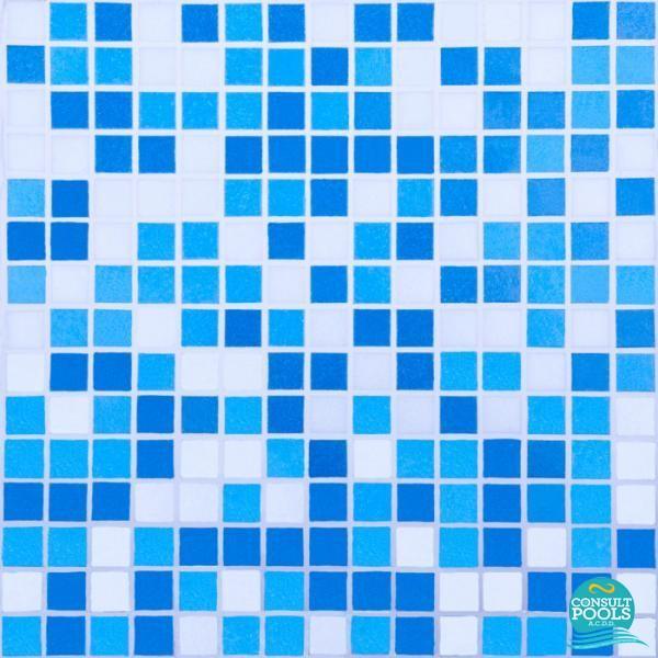 Mozaic piscina mixt albastru deschis