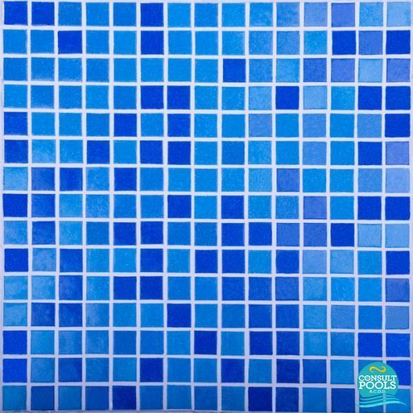 Mozaic piscina mixt albastru inchis